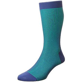 Pantherella Santos Shadow Rib Socks - Ocean Blue