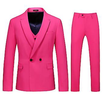 Allthemen Men's 3-Piece Suit Bright Color Business Casual Blazer&Vest&Pants