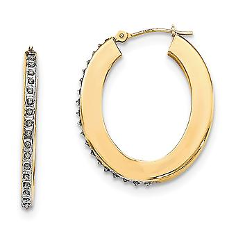 14k Yellow Gold Diamond Fascination Flat Oval Hoop Earrings Jewelry Gifts for Women - .010 dwt