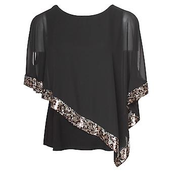 Frank Lyman Black Sheer Layered Top With Sequin Band