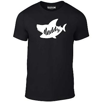 Reality glitch daddy shark mens t-shirt