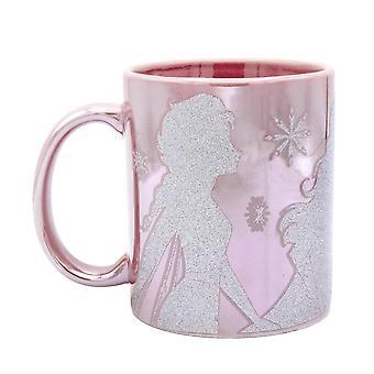Disney Frozen II Cup Elsa & Anna Glitter Effect Ice Queen Pink with Glitter Print, capacity approx. 320 ml.