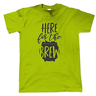 Here For The Brew Mens T-Shirt | Halloween Fancy Dress Costume Trick Or Treat | Hallows Eve Ghost Pumpkin Witch Trick Treat Spooky | Halloween Gift Him Dad