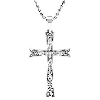 Dazzlingrock Collection 0.30 Carat (ctw) 14K Round Diamond Men's Ladies Unisex Cross Pendant 1/3 CT, White Gold