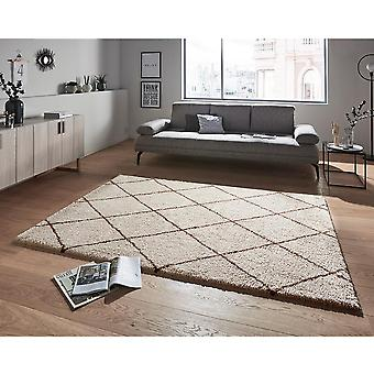Design High Flor Rug Feel Cream Ochre Brown