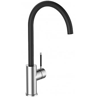 Single-lever 100% Stainless Steel Kitchen Sink Mixer With Black Swivel Spout - 85