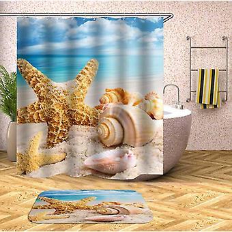 Starfish And Seashell Shower Curtain