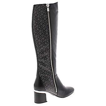 DKNY mujer Cerri cuero logo botas de montar negro 7.5 medio (B, M)