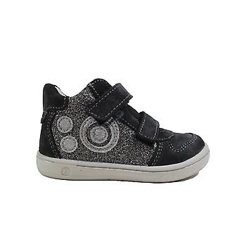 Ricosta Kaya 2624300-490 Grey Leather/Textile Girls Rip Tape Water Resistant Ankle Boots