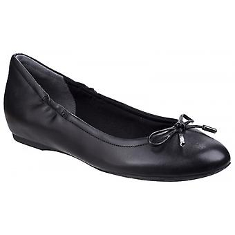 Rockport Tied Ladies Leather Ballerina Shoes Black