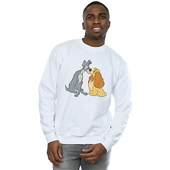 Disney Men's Lady And The Tramp Distressed Kiss Sweatshirt