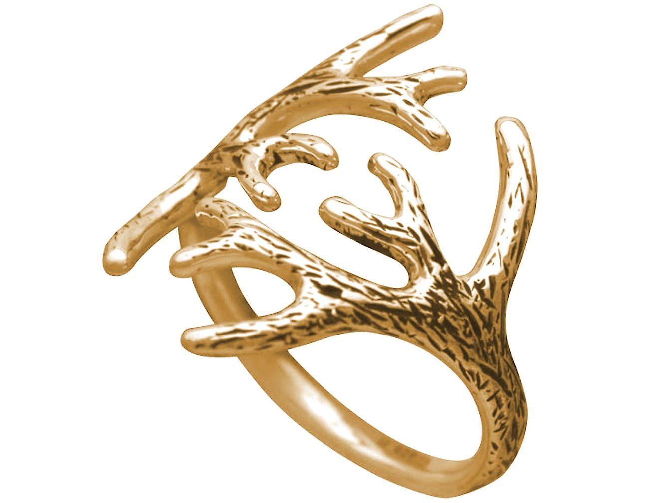 Gemshine Alpin Hirsch Geweih Ring in 925 Silber, hochwertig vergoldet oder rose