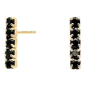 PD Paola AR01-073-U earrings - GOLD silver KIRA with black zirconium oxides