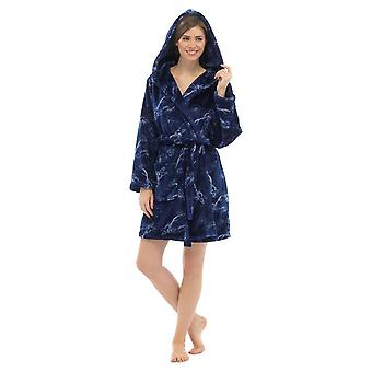 Ladies Supersoft Warm Shimmer Fleece Wrap Over With Hood Nightwear Bathrobe Dressing Gown