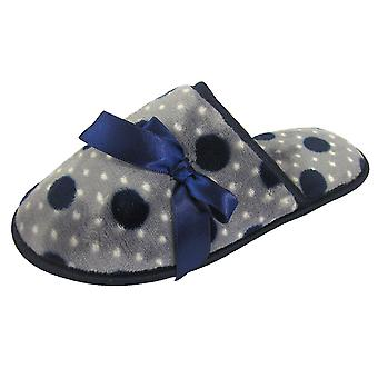Coolers Womens Ribbon and Polka Dot Fleece Mule Slippers