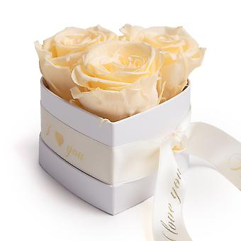 I Love You Roses Heart Box 3 Eternal Roses in Beige Durable 3 Years