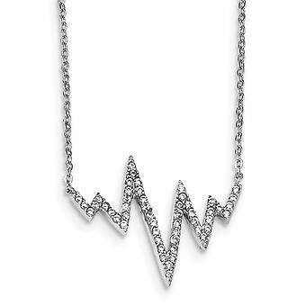 925 שטרלינג ברודיום מצופה CZ מעוקב מדומה יהלום שרשרת זיגזג 18 תכשיטים אינץ מתנות לנשים