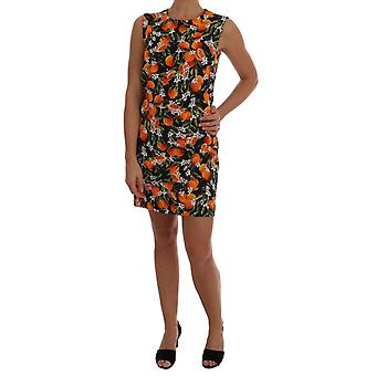 Vestido de brocado de frutas laranja saqueada dolce & Gabbana