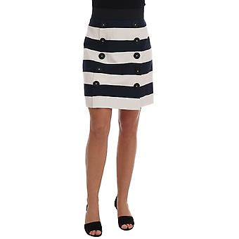 Dolce & Gabbana Blue White Pencil Cotton Stretch Skirt