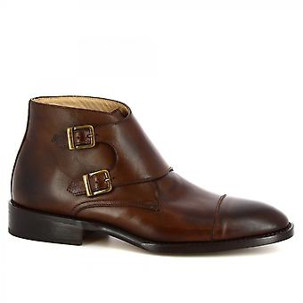 Leonardo Shoes Men's handmade ankle boots in shiny brown calf leather buckles