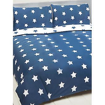Navy Blue and White Stars Duvet Cover and Pillowcase Set