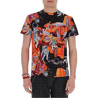 Valentino Tv3mg05f61g12q Hombres's Camiseta de algodón naranja/negro