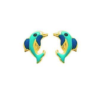 Ohrringe Dolphins Laqu oder 750/1000 gelb (18K)