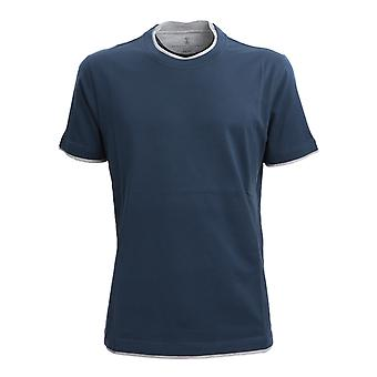 Brunello Cucinelli M0t617427cy857 Men's Blue Cotton T-shirt