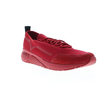 Diesel S-KBY Stripe Mens Red Suede Lace Up Lifestyle Sneakers Shoes