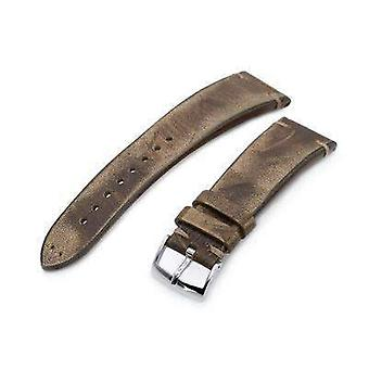 Strapcode leather watch strap 22mm miltat italian handmade brushed brown watch strap, khaki stitching
