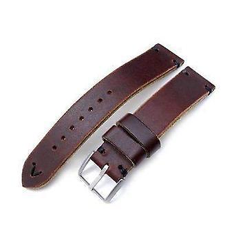 Strapcode calf leather watch strap 20mm, 22mm miltat horween chromexcel watch strap, burgundy brown, black stitching