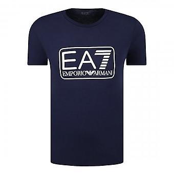 EA7 Emporio Armani Box Logo T-Shirt Navy Blue 8NPT10 PJNQZ