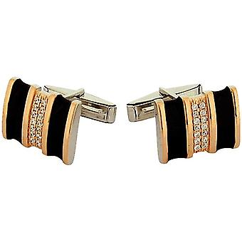 Jakob Strauss Gents Sterling Silver Black & Rose-goldtone CZ Set Cufflinks