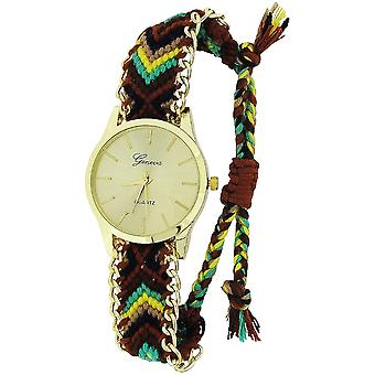 Olivia Collection Ladies trekk tie nedleggelse BrownMulticolour vevd stropp watch