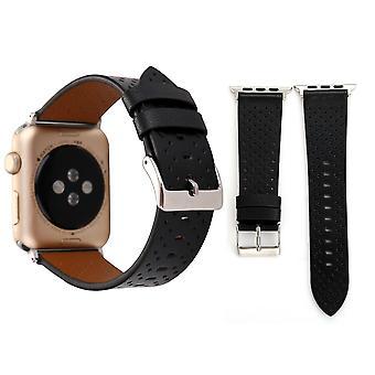Per Apple Watch Series 4,3,2,1 Nero Perforato Cintura In pelle 44mm,42mm