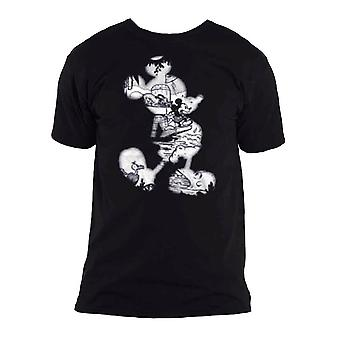 Mænd's Disney Mickey Mouse Vintage Infill Sort T-shirt