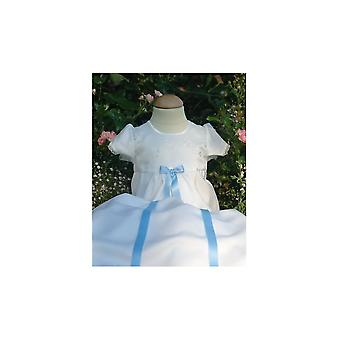 Christening Gown - Embroidered Flowes, 4 Free Choices Of Bow