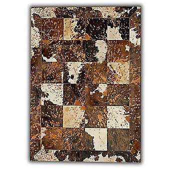 Rugs -Patchwork Leather Cubed Cowhide - Acid Brown & White