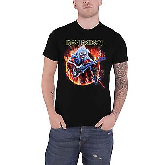 Camiseta do Iron Maiden Fear Live Flames Eddie Band Novo Oficial Mens Black