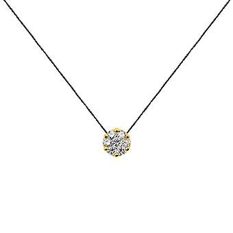 Choker Flower Cluster 18K Gold and Diamonds, on Thread - Yellow Gold, Black