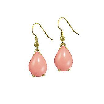 Eeuwige collectie Serendipity perzik roze glazuur Gold Tone Drop doorstoken oorbellen