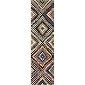 """27""""x 96""""x 0.55"""" Patchwork Soft White Area Rug"""