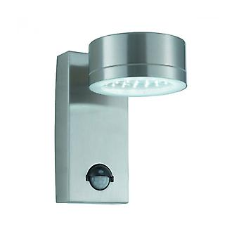 Led Outdoor Wall Lamp With Detector, Stainless Steel And Glass