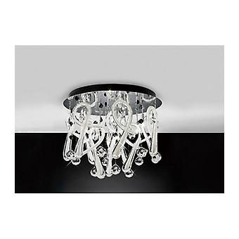 Class Round Ceiling Light 10 Bulbs Polished Chrome / Frosted White / Crystal