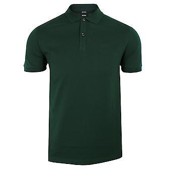 Hugo boss men's dark green pallas polo shirt