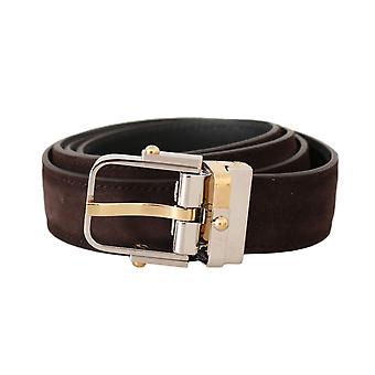 Dolce & Gabbana Brown Suede Leather Gold Silver Buckle Belt