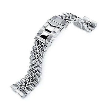 Strapcode watch bracelet 22mm super jubilee 316l stainless steel watch band for seiko diver 6309-7040, brushed , polished submariner clasp