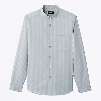 A.P.C.  - Alejandro - Stripe Grandad Shirt - Blue/Grey