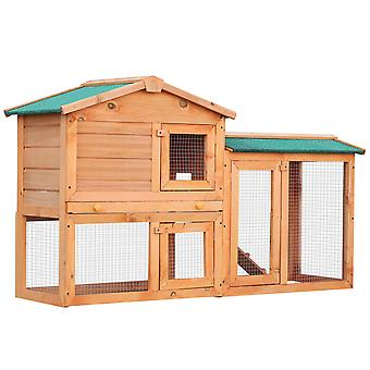Pawhut 2 Tier Wooden Rabbit Hutch Bunny Cage Pull Out Tray Small Animal House w/ Ramp 145 x 45 x 85 cm