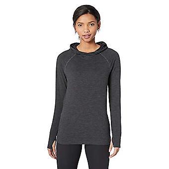 Essentials Women&s Brushed Tech Stretch Popover Bluza z kapturem, Czarny barwnik, X-Small